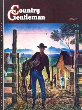 """""""Cowboy at End of the Day,"""" Country Gentleman Cover, June 1, 1947 by Peter Hurd"""