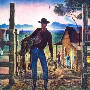 """Cowboy at End of the Day,""June 1, 1947 by Peter Hurd"
