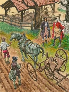 A Farmer Showing Off His Labourers Using the New Drilling Machine Invented by Jethro Tull by Peter Jackson