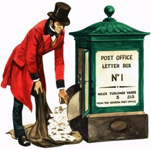 Communication One Hundred Years Ago. a Victorian Postman and Post Box by Peter Jackson