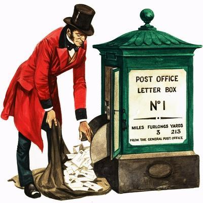 Communication One Hundred Years Ago. a Victorian Postman and Post Box