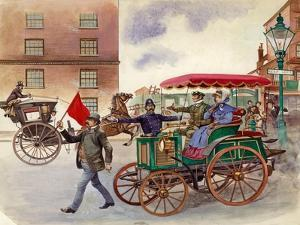 Early Car, with Man with a Flag by Peter Jackson