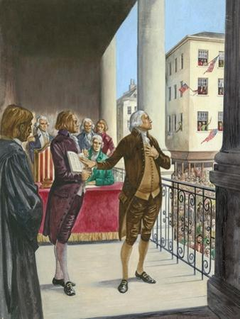 George Washington Being Sworn in as the First President of America in New York by Peter Jackson