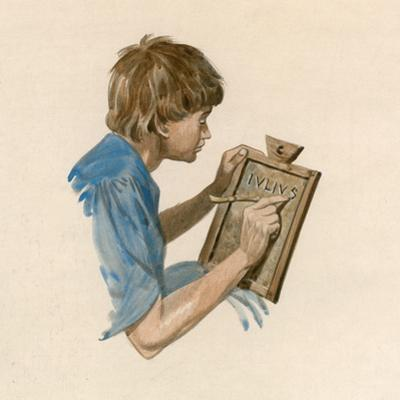 Julius Caesar, as a Boy, Learning to Write Using a Wax Tablet by Peter Jackson