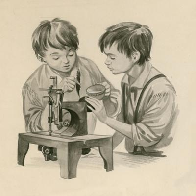 The Wright Brothers as Boys, Dropping Water into the Sewing Matchine with a Feather by Peter Jackson