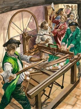 Workers Attack the Blackburn Home of James Hargreaves to Destroy His Invention, the Spinning Jenny by Peter Jackson