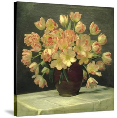 Tulips in a Vase on a Draped Table (detail)