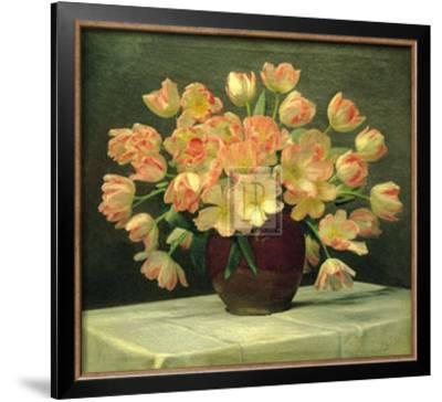 Tulips in a Vase on a Draped Table