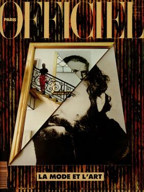 L'Officiel, December 1990-January 1991 - Retratto Di Gianni Versace 1989 by Peter Klasen Miguel Chevalier