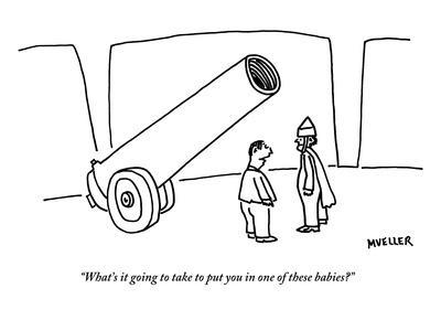 """""""What's it going to take to put you in one of these babies?"""" - New Yorker Cartoon"""