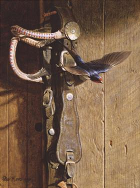 Swallow On Saddlery by Peter Munro