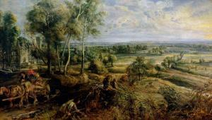 Autumn Landscape with a View of Het Steen in the Early Morning, c.1636 by Peter Paul Rubens
