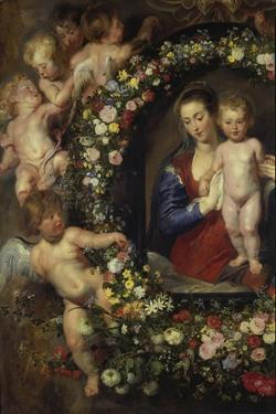 Detail Aus 'Madonna Im Blumenkranz': Linke Seite Des Gemaeldes by Peter Paul Rubens
