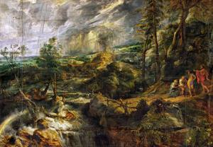 Landscape in a Thunderstorm, Philemon and Baucis, Jupiter and Mercury, circa 1620 by Peter Paul Rubens
