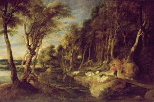 Landscape with a Shepherd by Peter Paul Rubens