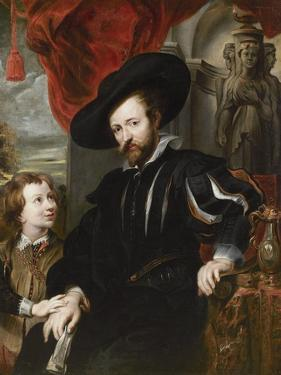 Portrait of Peter Paul Rubens with His Son Albert, Mid of 17th C by Peter Paul Rubens
