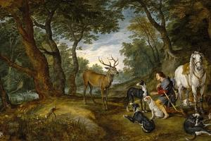 Saint Hubert's Vision, 1617-1620, Flemish School by Peter Paul Rubens