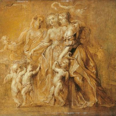Sketch of Women with Putti by Peter Paul Rubens