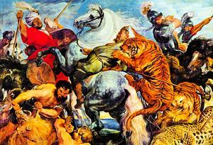 Peter Paul Rubens (Tiger and lion hunting) Art Poster Print