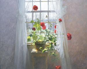 Red Geraniums (small) by Peter  Poskas