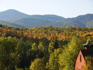House in Style of Traditional Barn in the Adirondacks in Autumn by Peter Ptschelinzew