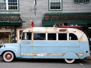 Old Bus Touring the Country Stops in Bar Harbour by Peter Ptschelinzew
