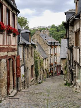 Ancient Cobbled Street and Houses, Rue Du Petit Fort, Dinan, Cotes-D'Armor, Brittany by Peter Richardson