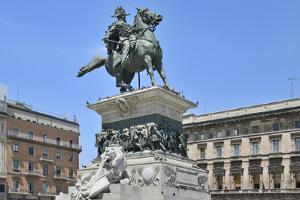 Equestrian Statue of Victor Emmanuel Ii, Piazza Del Duomo, Milan, Lombardy, Italy, Europe by Peter Richardson
