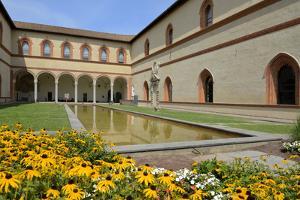 Garden in the Ducal Courtyard, Sforzesco Castle (Castello Sforzesco), Milan, Lombardy, Italy by Peter Richardson