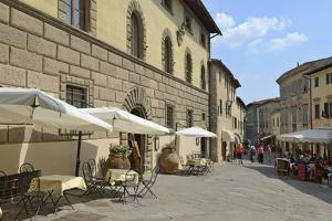 Shops and Restaurants, Via Ferruccio, Castellina in Chianti, Siena Province, Tuscany, Italy, Europe by Peter Richardson