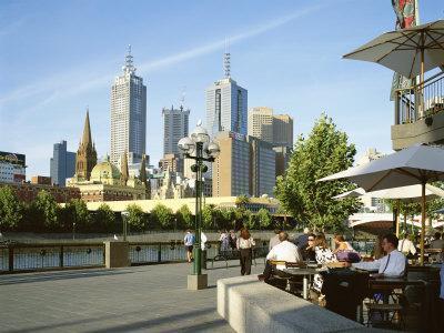 Open Air Cafe, and City Skyline, South Bank Promenade, Melbourne, Victoria, Australia