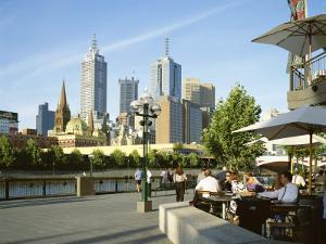Open Air Cafe, and City Skyline, South Bank Promenade, Melbourne, Victoria, Australia by Peter Scholey