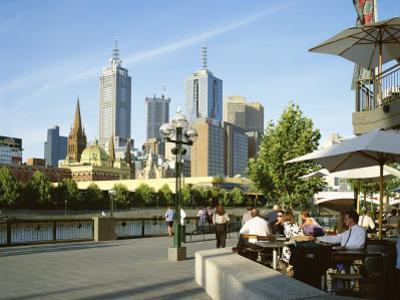 Open Air Cafe, and City Skyline, South Bank Promenade, Melbourne, Victoria, Australia