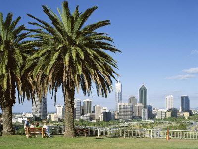 Palm Trees and City Skyline, Perth, Western Australia, Australia