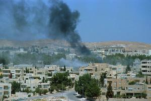 Smoke Billowing from Amman, Jordan by Peter Skingley