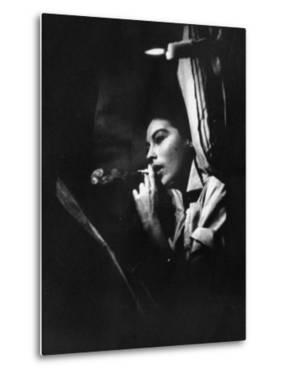 """Actress Ava Gardner Smoking a Cigarette in a Scene from the Film """"Mogambo"""" by Peter Stackpole"""