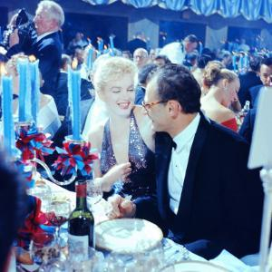Actress Marilyn Monroe with Her Husband, Playwright Arthur Miller April in Paris Ball by Peter Stackpole
