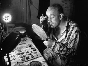 Alec Guiness Putting on Theatrical Make Up at the Stratford Shakespeare Festival by Peter Stackpole