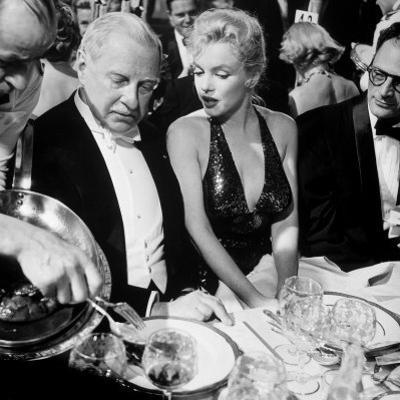 Ambassador Winthrop Aldrich, Ex Envoy to Britain Chatting with Actress Marilyn Monroe