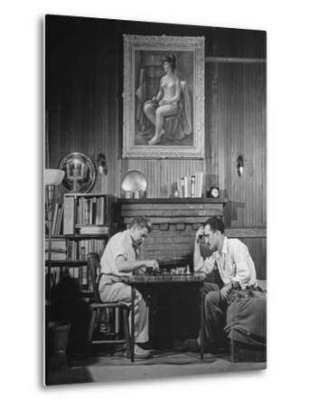 Artist Fletcher Martin, and a Friend Playing a Chess Game by Peter Stackpole