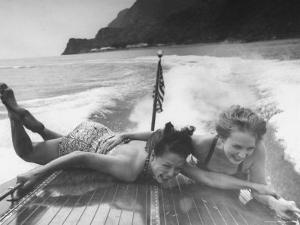 Betty Brooks and Patti McCarty Motor Boating at Catalina Island by Peter Stackpole