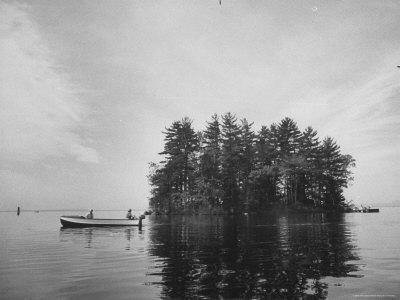 "Boating on Sebago Lake Past ""Keepsake"" Island"