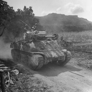 M4 Sherman Tank in Action During the Us Invasion of Saipan by Peter Stackpole