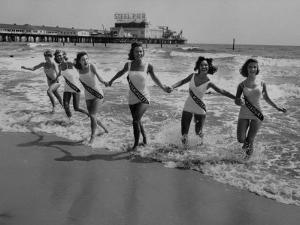 Miss America Candidates Playing in Surf During Contest Period by Peter Stackpole