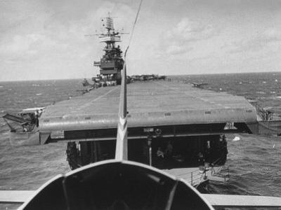 "Plane Taking Off from Flight Deck of Aircraft Carrier ""Enterprise"" by Peter Stackpole"