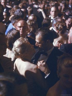Playwright Arthur Miller Dancing with Wife, Actress Marilyn Monroe, at the April in Paris Ball by Peter Stackpole