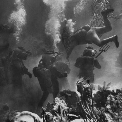 Propman Helping Seaweed Harvest During Underwater Filming of Disney's 20,000 Leagues Under the Sea