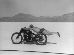 Roland Free Breaking World's Speed Record on Bonneville Salt Flats While Laying on His Bike by Peter Stackpole