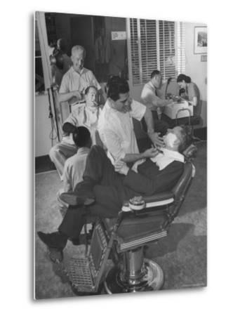 Screenwriting Team of Charles Brackett and Billy WilderWorking in the Paramount Studio Barbershop by Peter Stackpole