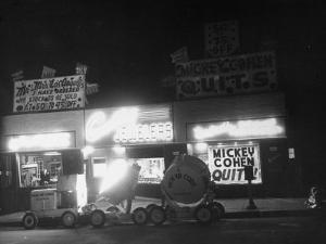 Underworld Character Mickey Cohen's Haberdashery at Night by Peter Stackpole